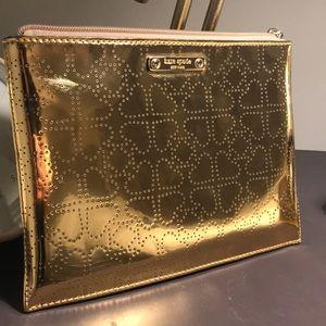 Kate Spade Metallic Gold Hearts Clutch